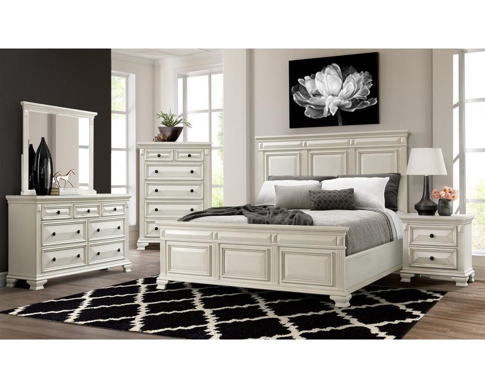 Calloway White King Bed, Dresser, Mirror, Nightstand