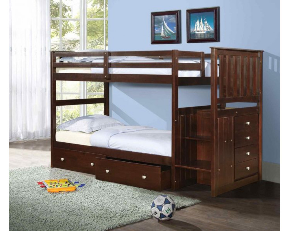 Cappuccino Stairway Bunk with Extension Kit
