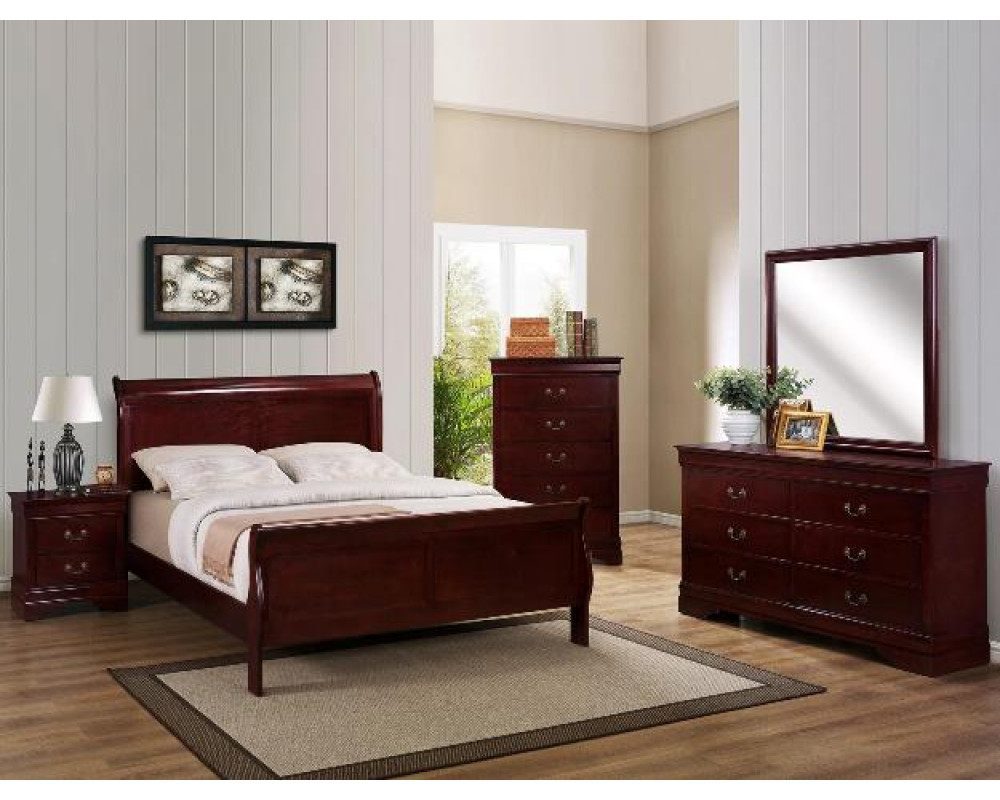 Louis Philip Cherry King Bed, Dresser, Mirror, & Nightstand