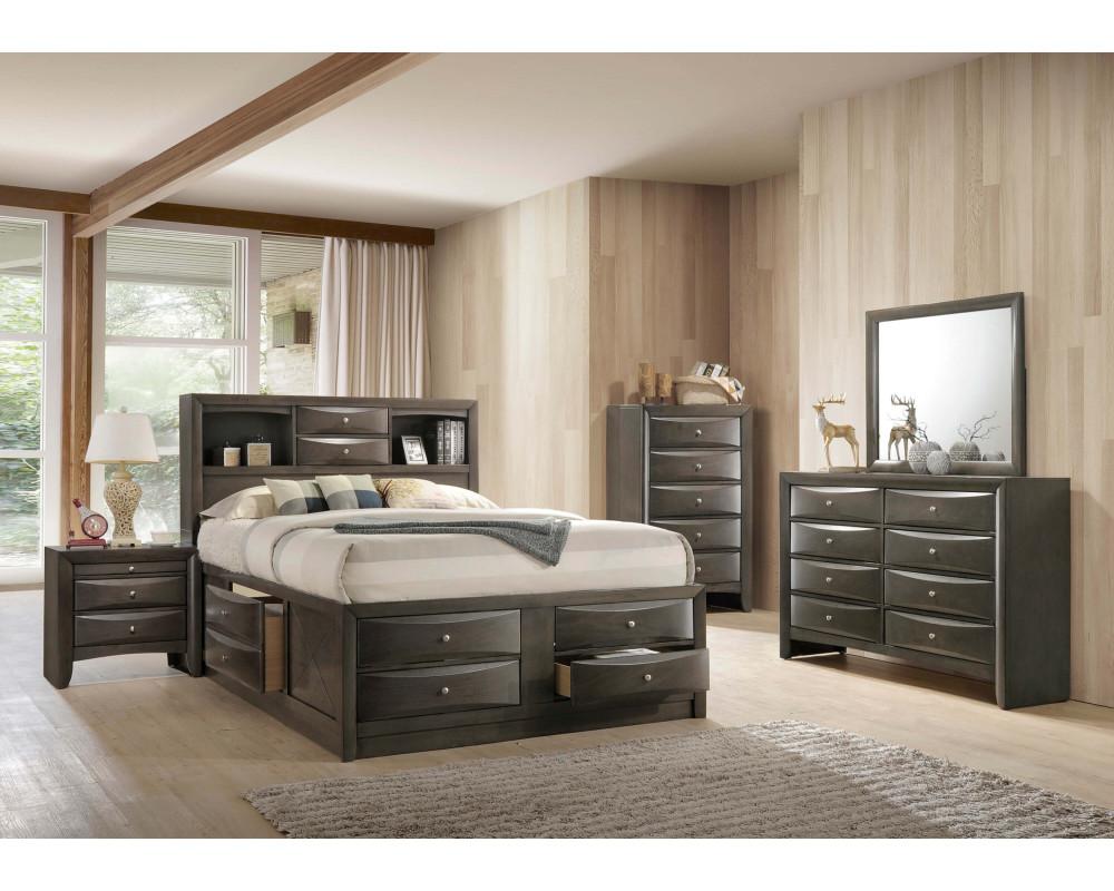 Emily Grey Storage King Bed, Dresser, Mirror, Nightstand