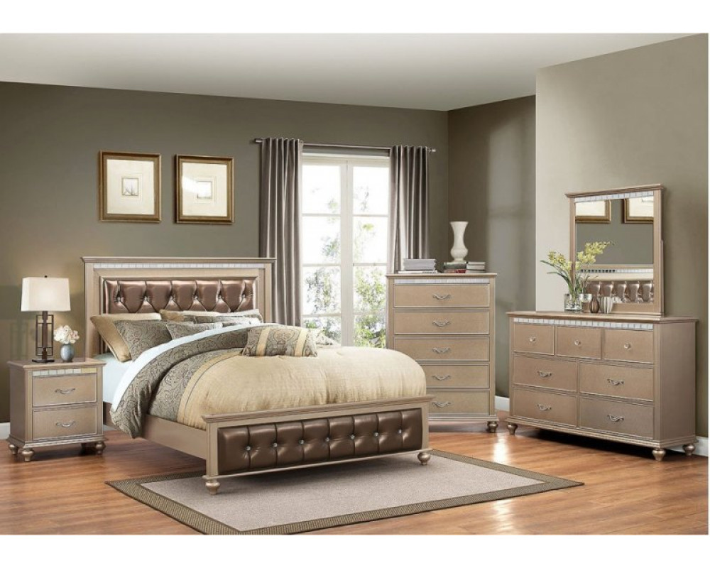 Hollywood Champaigne Queen Bed, Dresser, Mirror, & Nightstand