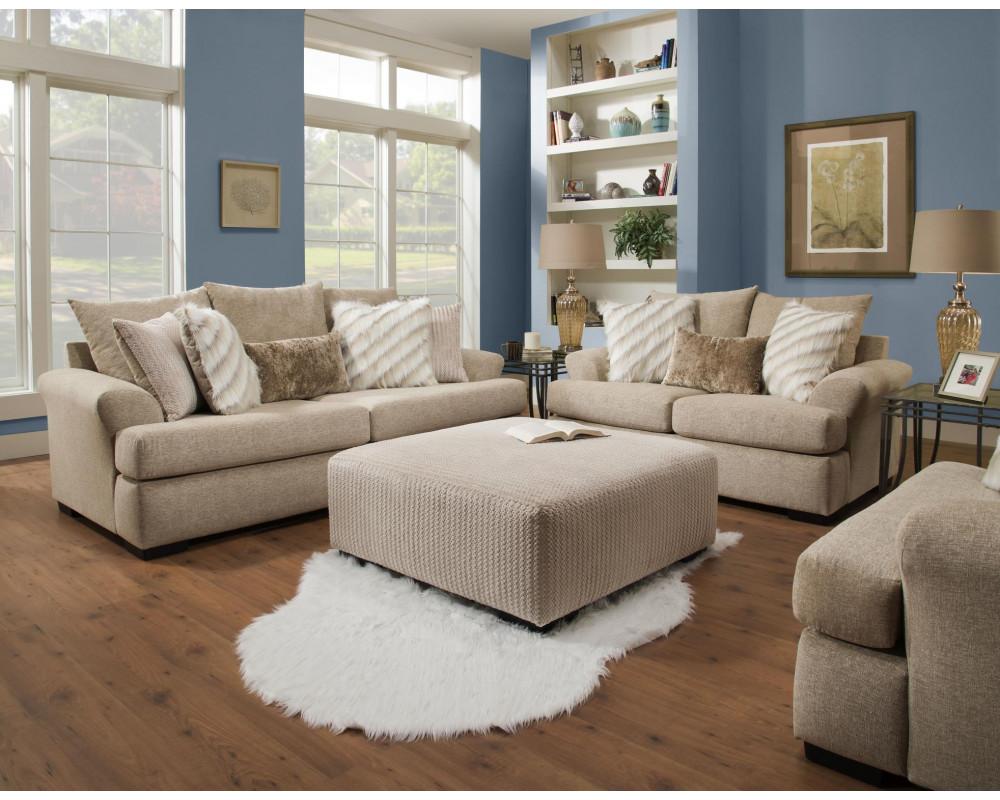 Overstock Furniture Intermix Khaki Sofa & Loveseat - Living Room