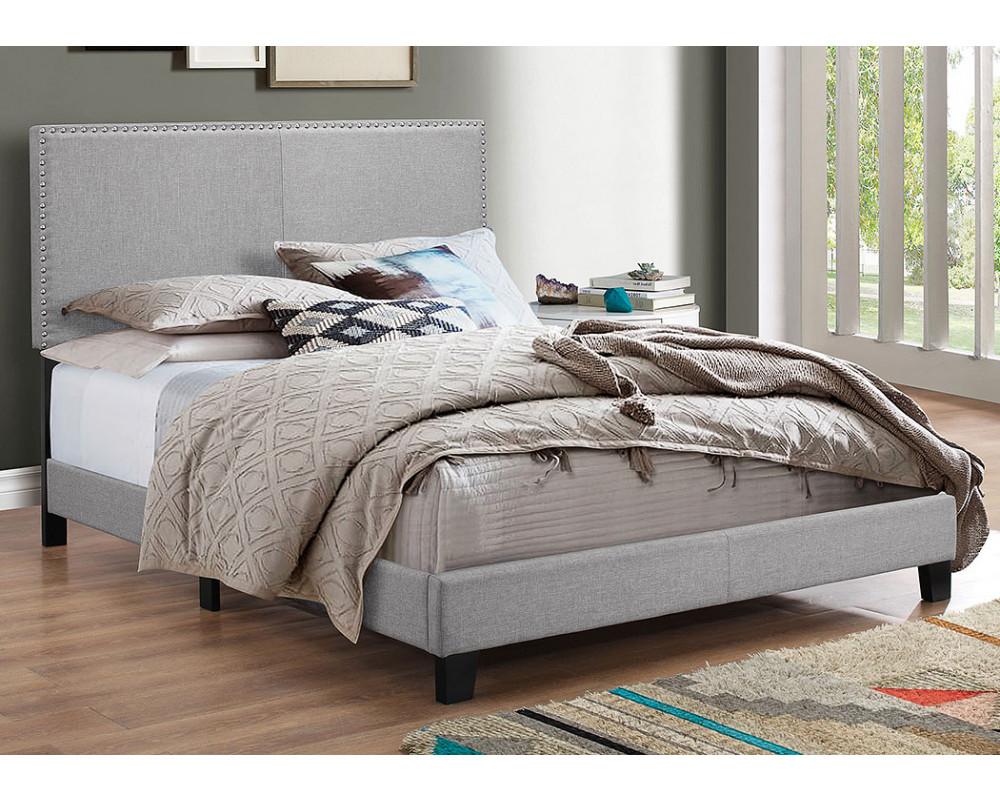 Erin Grey Queen Nailhead Bed