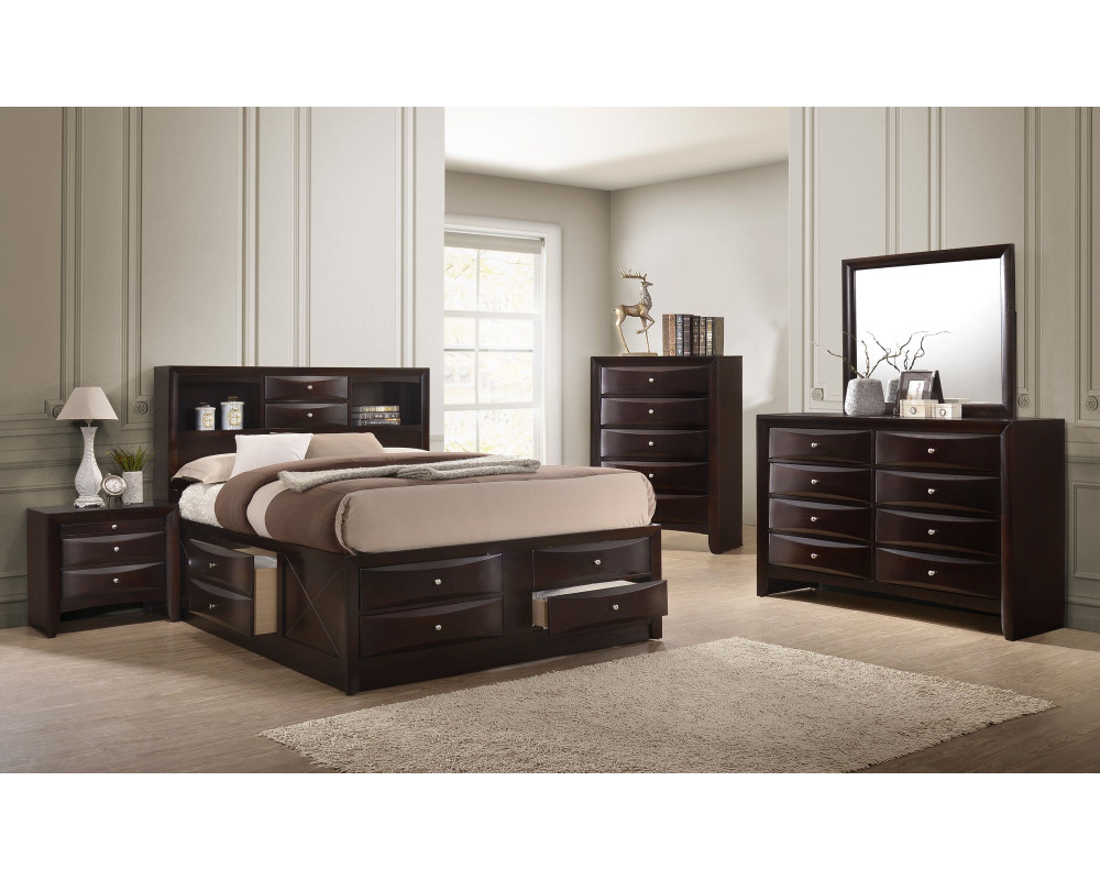 Emily Cherry King Bed, Dresser, Mirror, and Nightstand