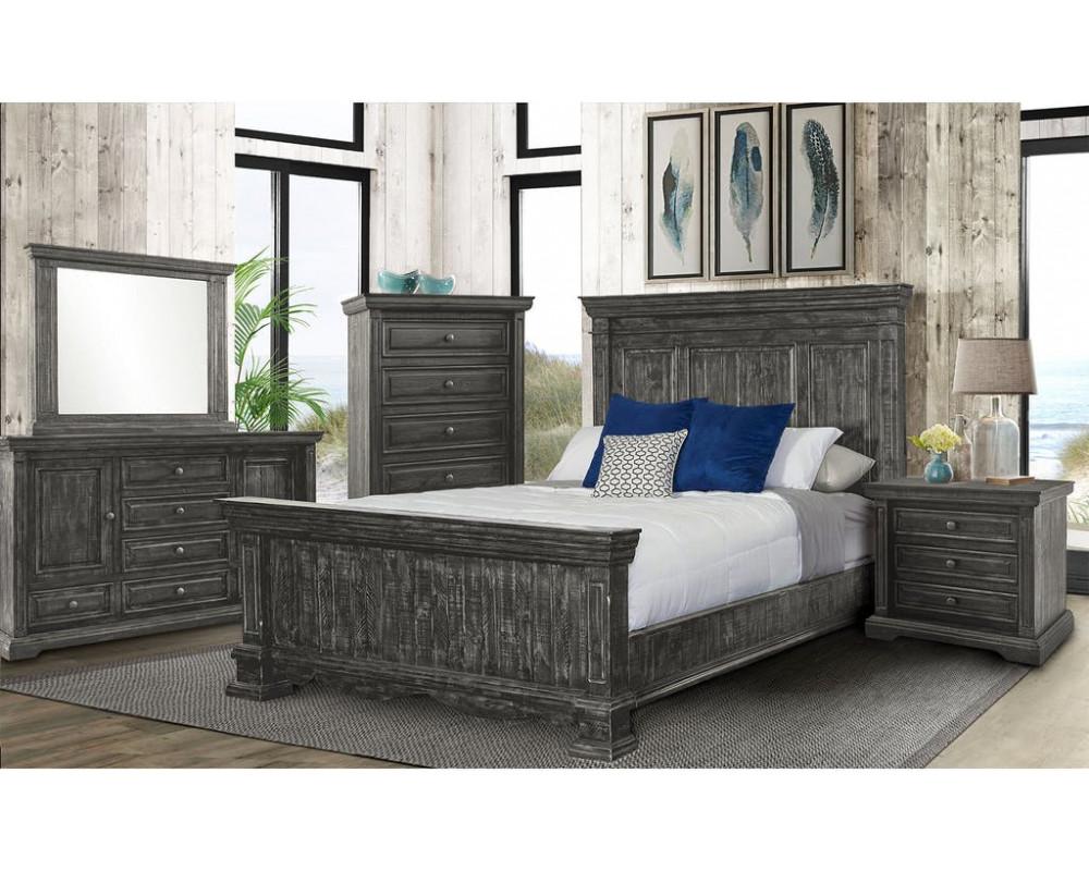 Condesa Grey King Bed, Dresser, Mirror, Nightstand