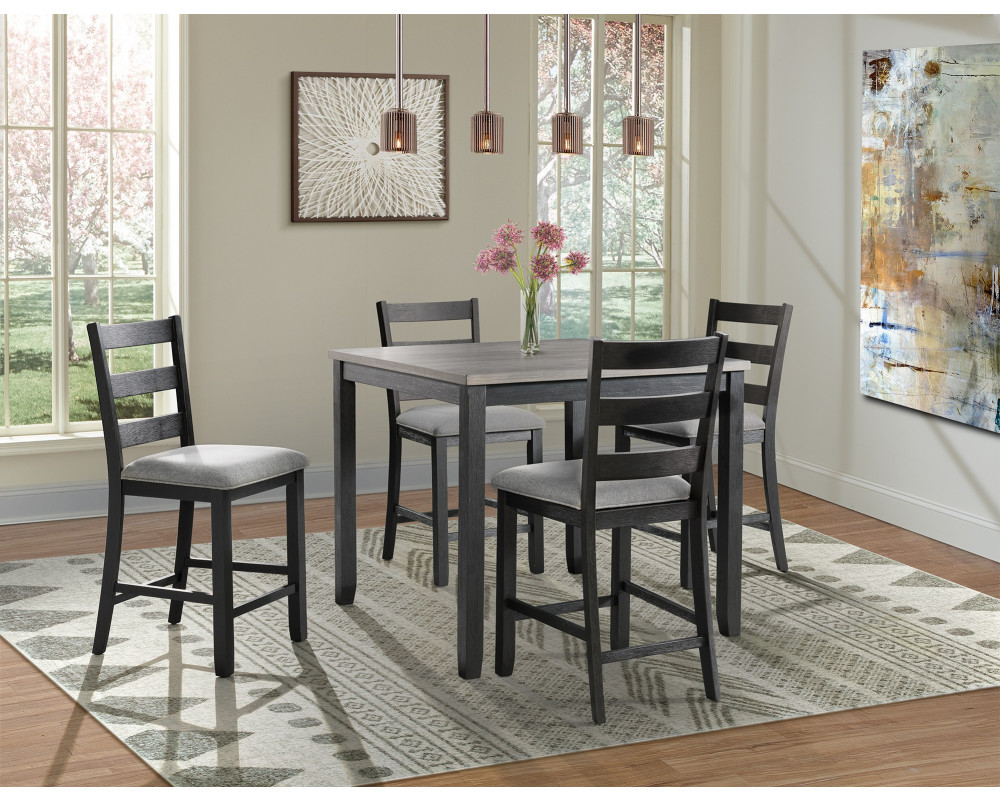 Martin Grey Counter Height Table & 4 Barstools