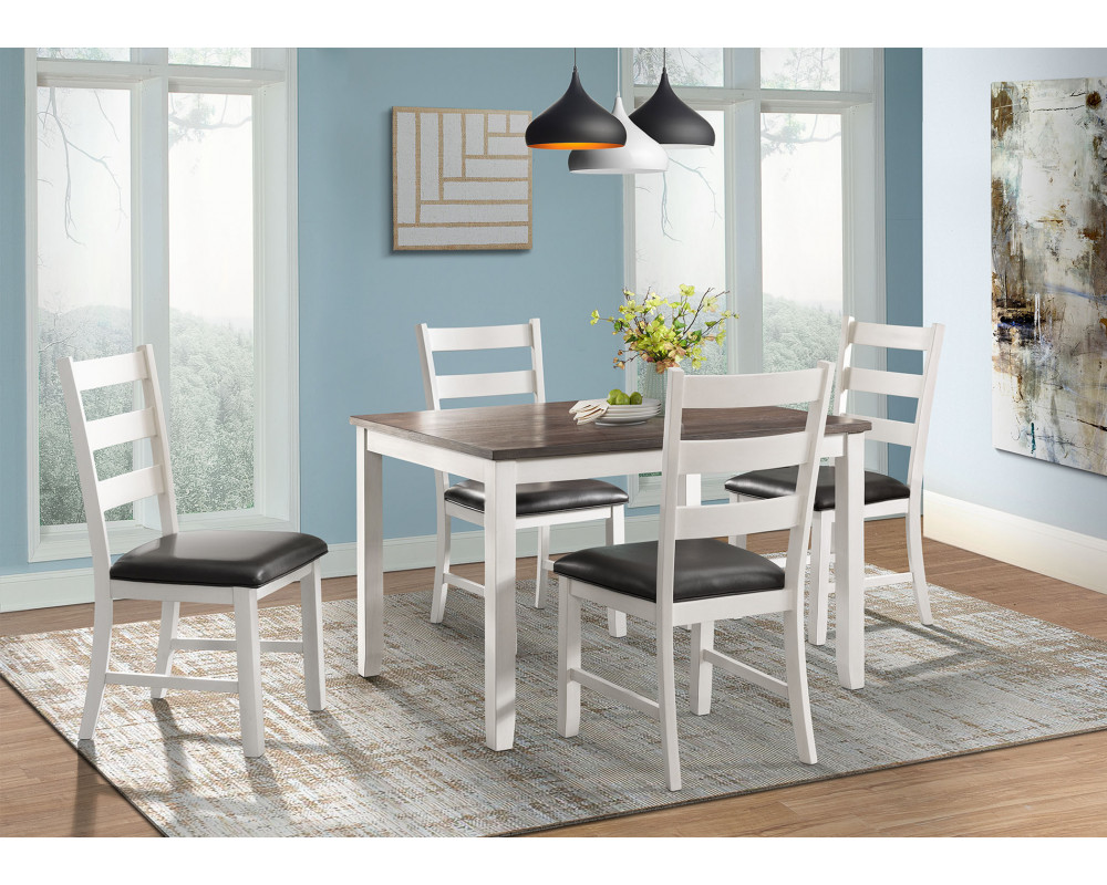 Overstock Furniture Martin Brown Dining Table & 4 Chairs ...