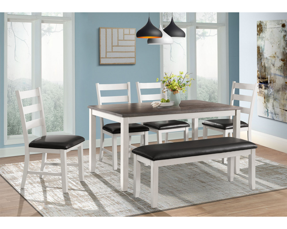 Martin Brown Dining Table, 4 Chairs, & Bench