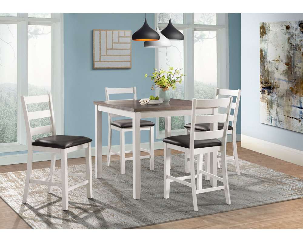 Martin Brown Counter Height Table & 4 Barstools