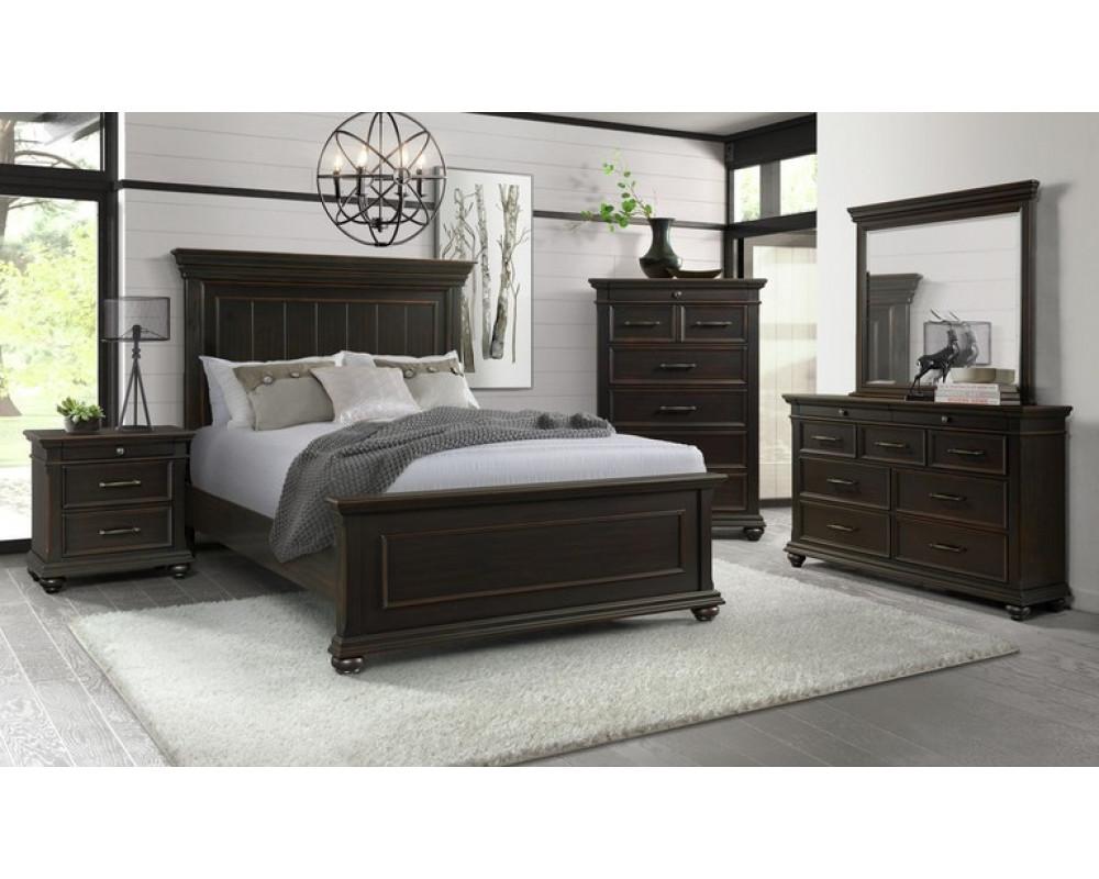 Slater Black King Bed, Dresser, Mirror, & Nightstand