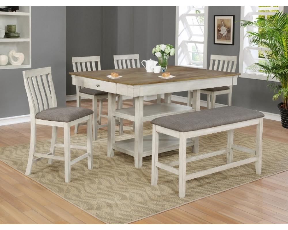 Nina Counter Height Table, 4 Barstools, & Bench