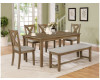 Clara Dining Table, 4 Chairs, & Bench