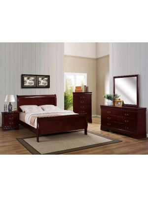 Louis Philip Cherry Queen Bed, Dresser, Mirror, & Nightstand