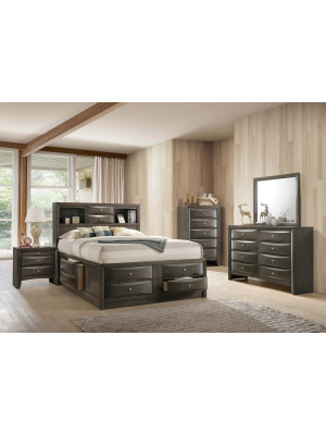 Emily Grey Storage Queen Bed, Dresser, Mirror, Nightstand