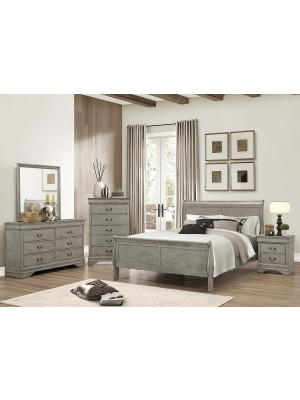 Louis Philip Grey King Bed, Dresser, Mirror, & Nightstand