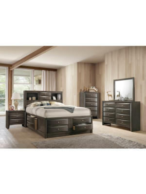Emily Grey King Bed, Dresser, Mirror, Nightstand