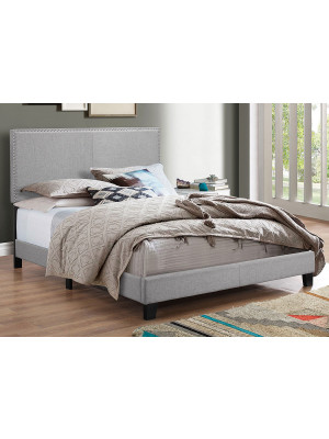 Erin Grey Queen Nailhead Bed
