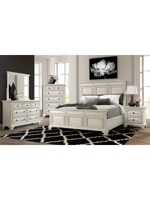 Calloway White Queen Bed, Dresser, Mirror, Nightstand