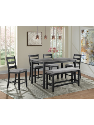 Martin Grey Counter Height Table, 4 Barstools, & Bench