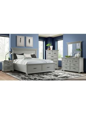 Slater Grey King Bed, Dresser, Mirror, & Nightstand